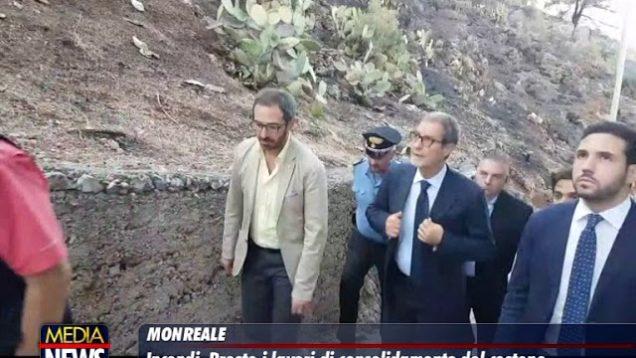 Incendi a Monreale, Regione al lavoro per messa in sicurezza territorio