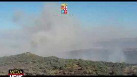 Vasto incendio in zona Roccadia a Carlentini, interviene un elicottero della Marina Militare