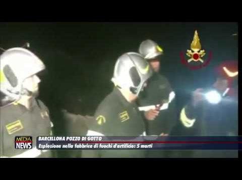 Barcellona PG. Esplosione nella fabbrica di fuochi d'artificio: 5 morti