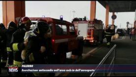 Palermo. Esercitazione antincendio nell'area check-in dell'aeroporto