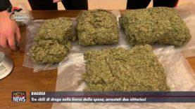 Tre chili di droga nella borsa della spesa, arrestati due vittoriesi