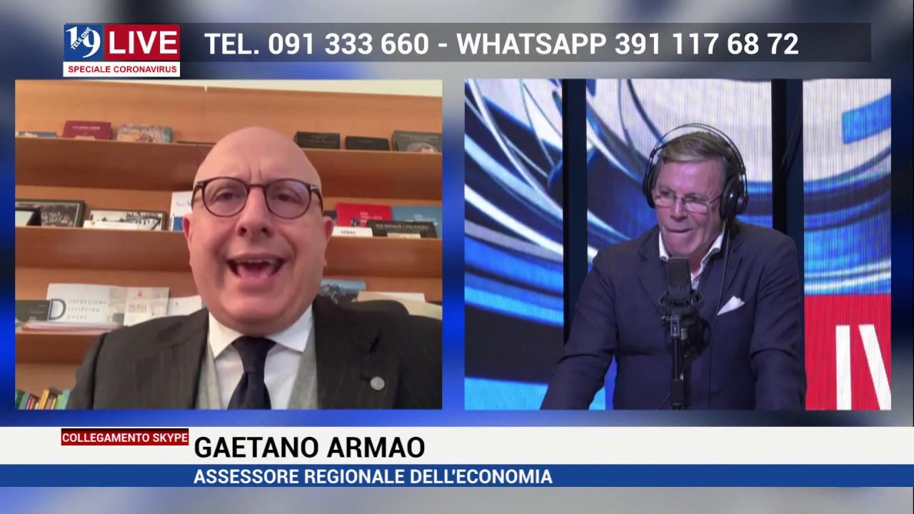 GAETANO ARMAO ASSESSORE REGIONALE DELL'ECONOMIA IN DIRETTA SU TELE ONE IN 19LIVE