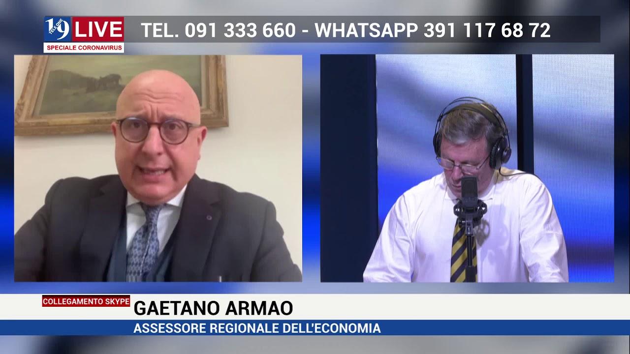 GAETANO ARMAO ASSESSORE REGIONALE ECONOMIA IN DIRETTA SU TELE ONE IN 19 LIVE