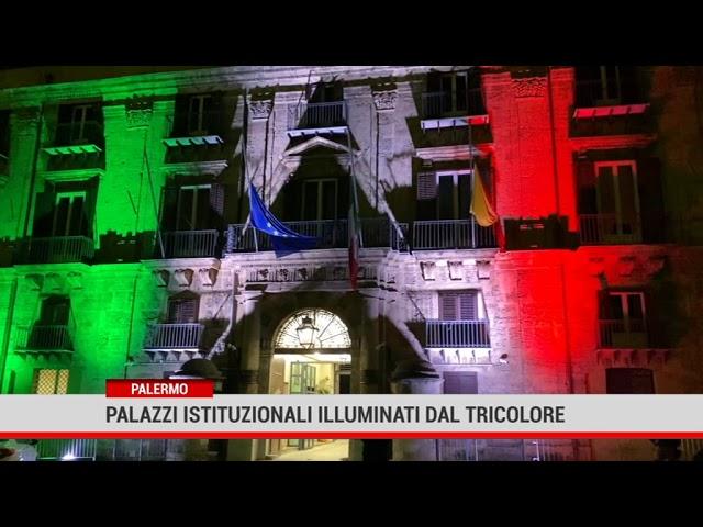 Palermo. Palazzi istituzionali illuminati dal Tricolore
