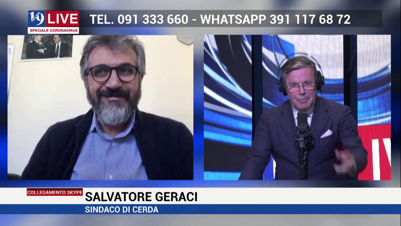 SALVATORE GERACI SINDACO DI CERDA IN DIRETTA SU TELE ONE IN 19LIVE