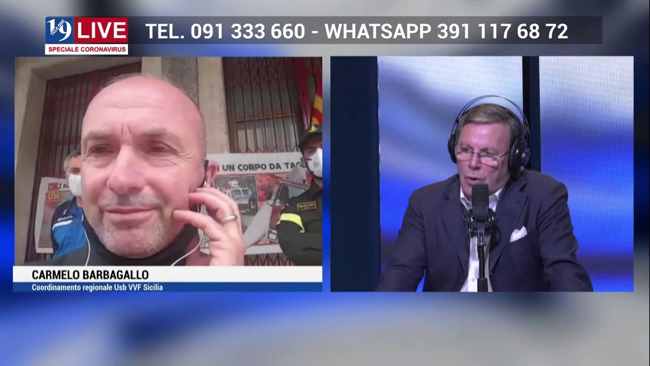 CARMELO BARBAGALLO VIGILI DEL FUOCO IN DIRETTA TV SU TELE ONE IN 19 LIVE