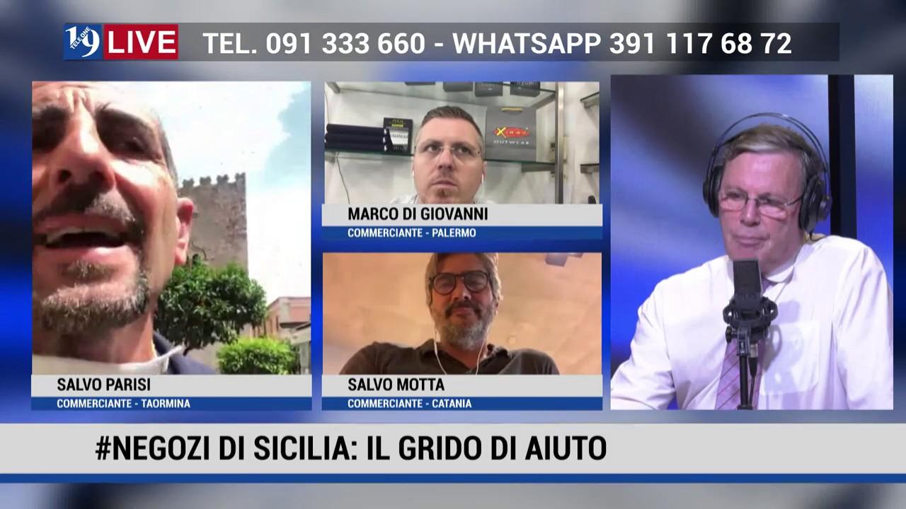 COMMERCIANTI SALVO MOTTA, SALVO PARISI MARCO DI GIOVANNI IN DIRETTA TV SU TELE OE IN 19 LIVE