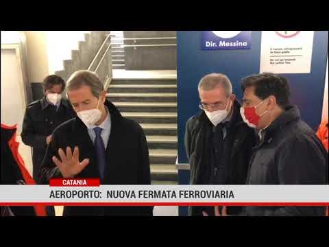 Catania.  Aeroporto:  Musumeci in visita al cantiere della nuova fermata ferroviaria